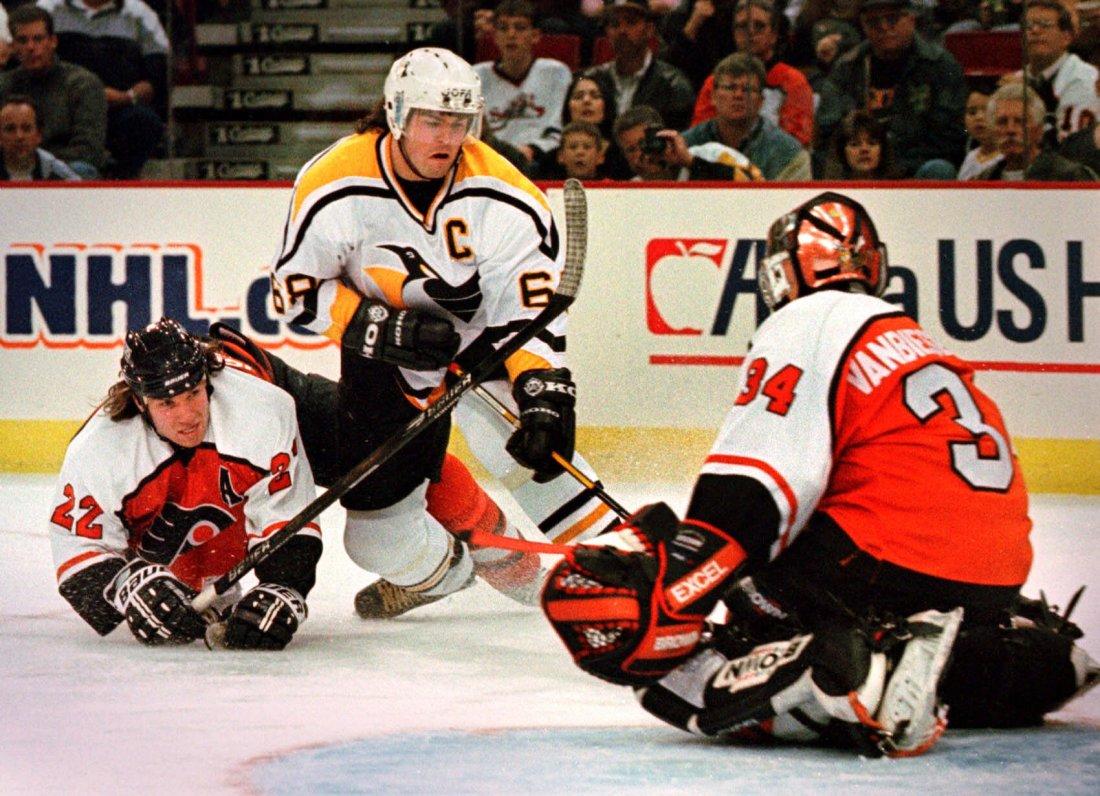Jaromír Jágr v dresu Pittsburgh Penguins, za které