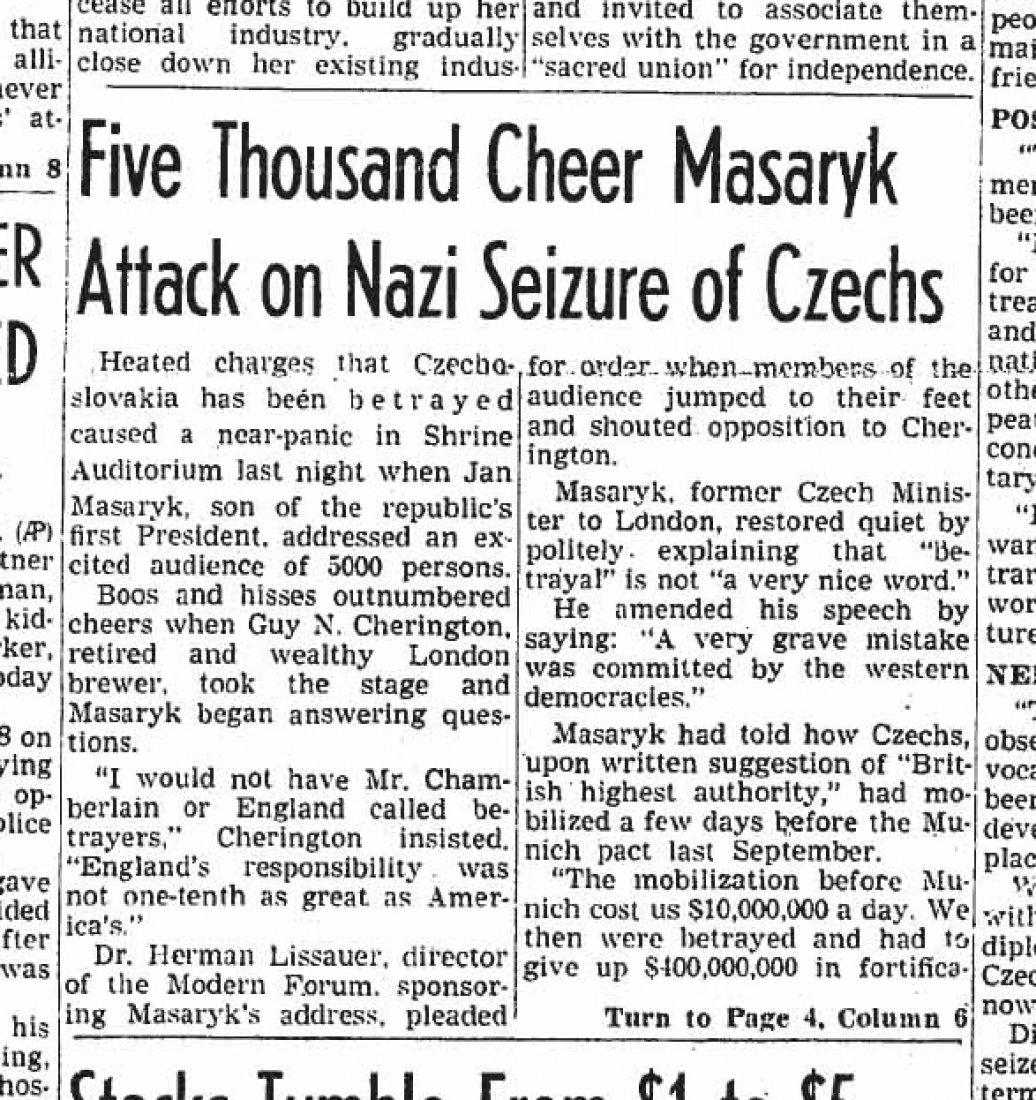 Článek o projevu Jana Masaryka na první straně ame