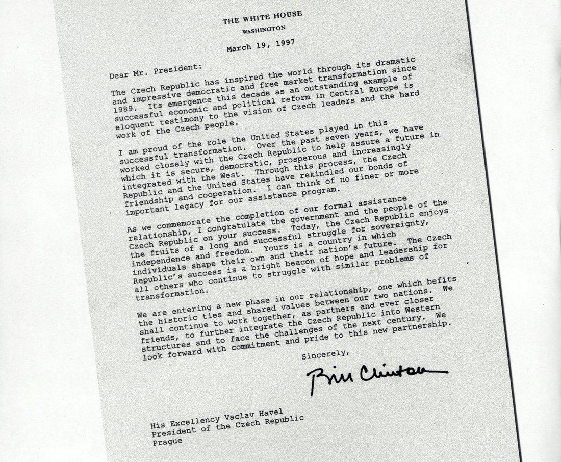 Odpověď amerického prezidenta Clintona, ve kterém