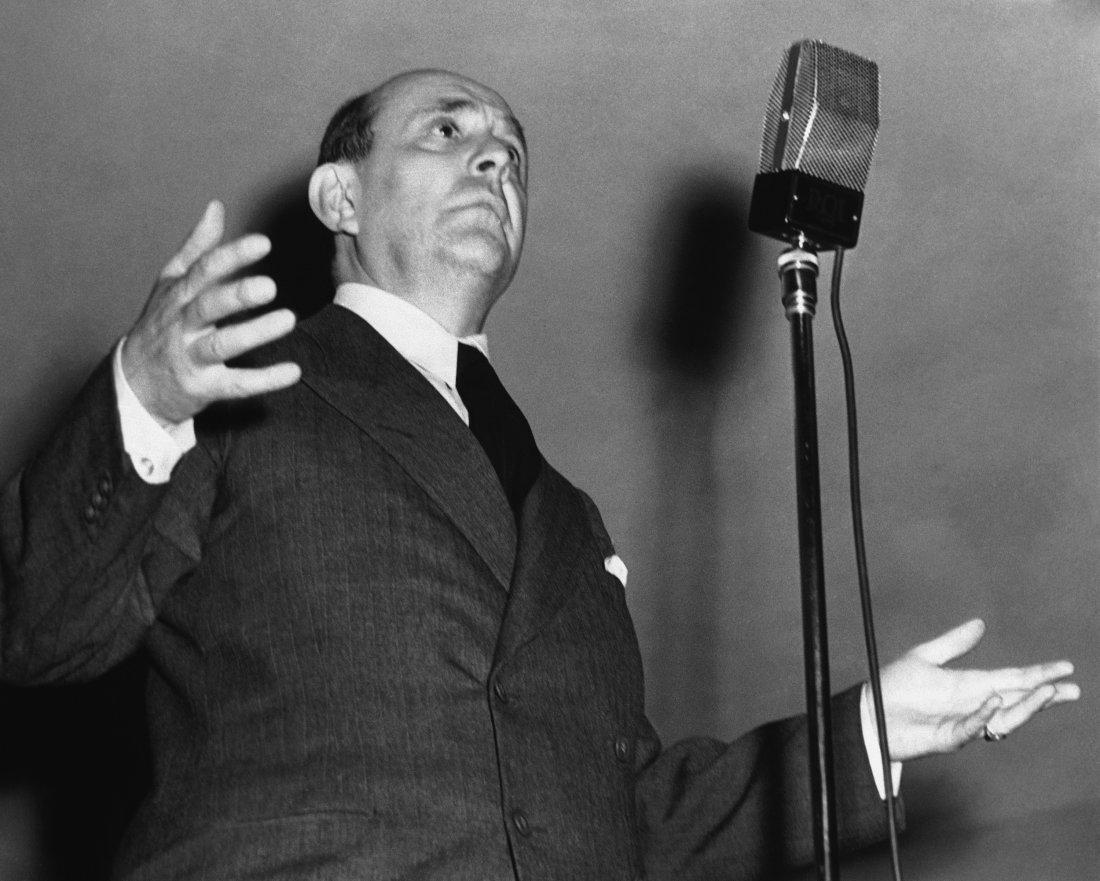 Jan Masaryk při ve svém pozoruhodném proslovu v Ch