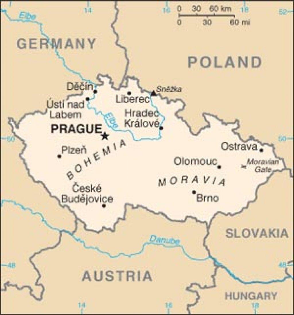 Mapa ČR 1.1.1993