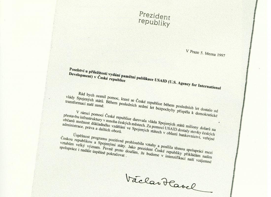 Dopis prezidenta Havla, ve kterém oceňuje práci US